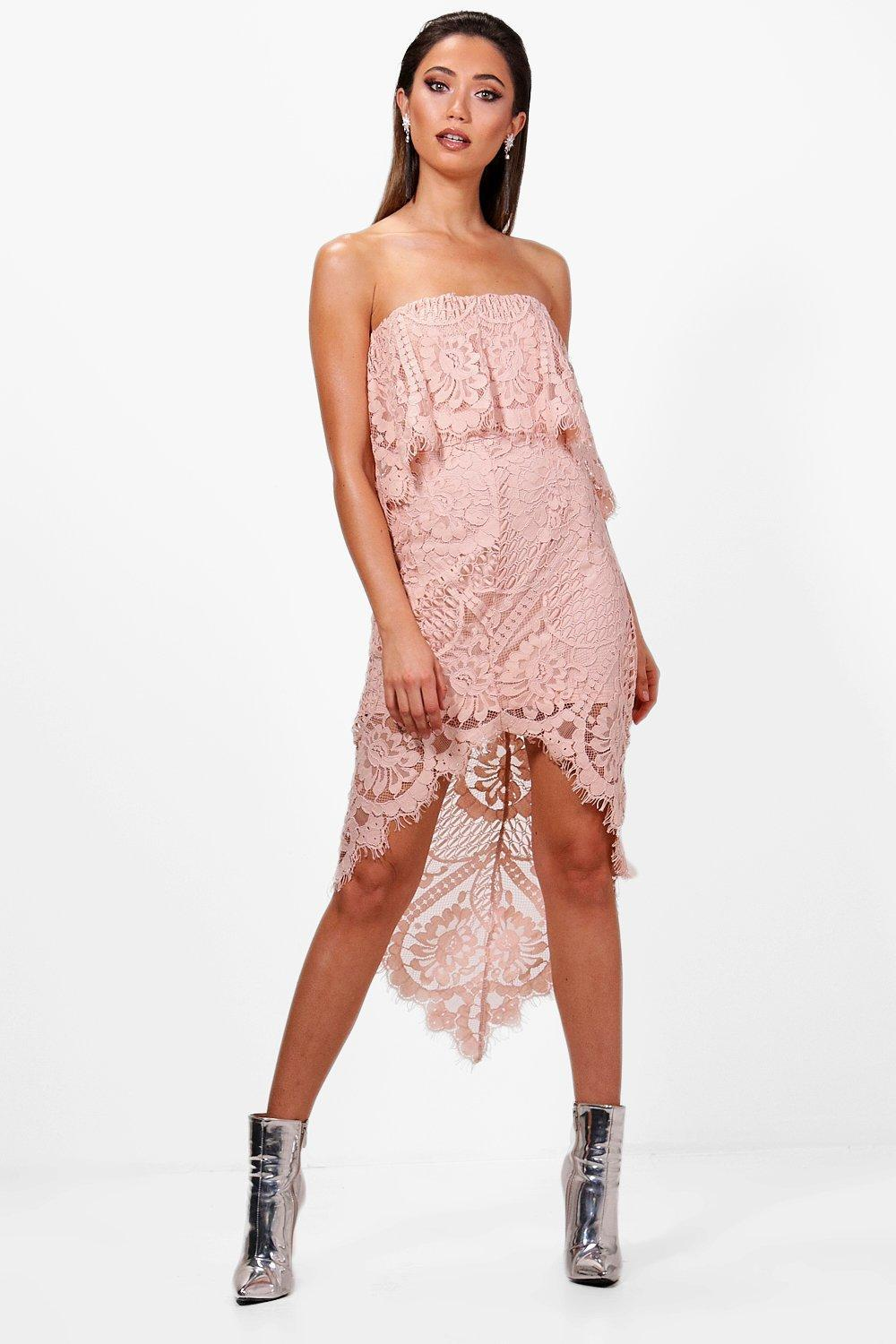 58145bd2429 Lyst - Boohoo Boutique Lace Off Shoulder Midi Dress in Pink