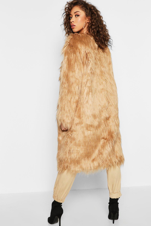 37c7a72b53477 Boohoo - Natural Shaggy Faux Fur Coat - Lyst. View fullscreen