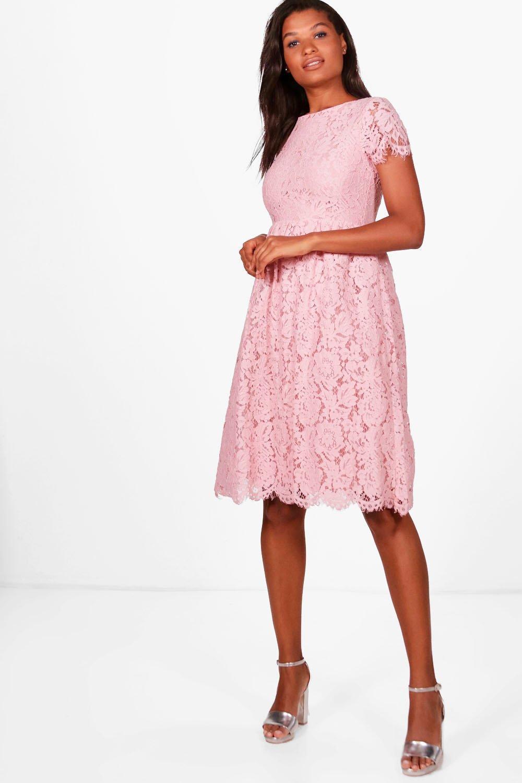 Boohoo Boutique Eyelash Lace Midi Skater Dress in Pink - Lyst 51791b7f3