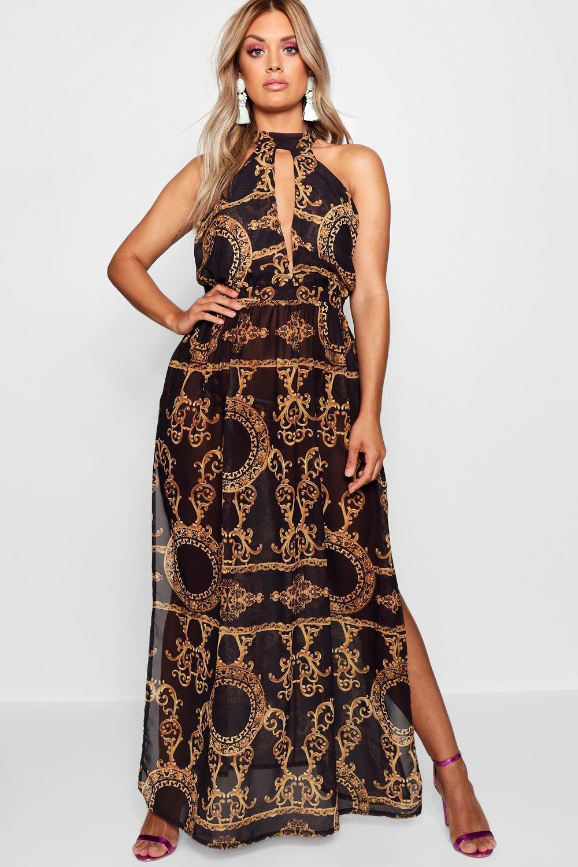 202bf58c96b4 Boohoo - Black Plus Collins Chain Print Maxi Beach Dress - Lyst. View  fullscreen