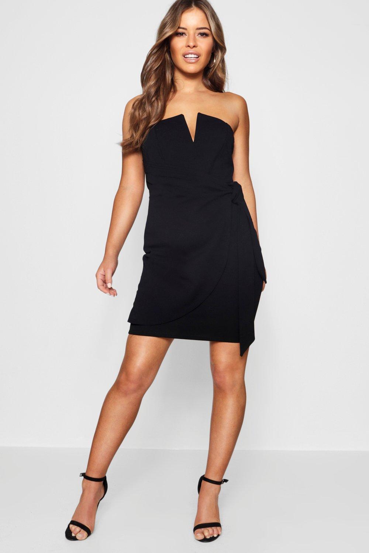 Boohoo Petite V-bar Detail Wrap Tie Mini Dress in Black - Lyst 45c07fee2