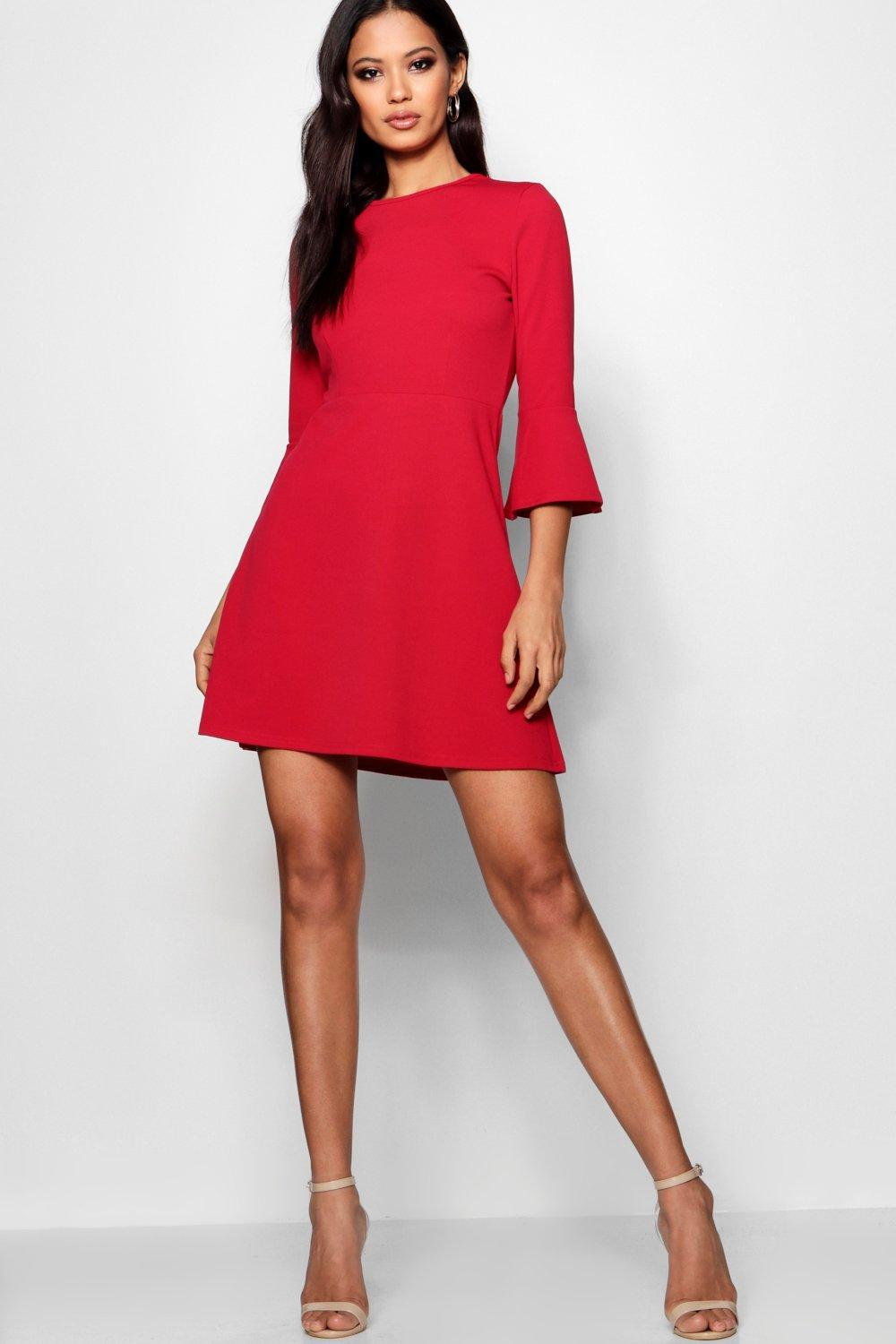 1c485c9cef Lyst - Boohoo Flute Sleeve Skater Dress in Red