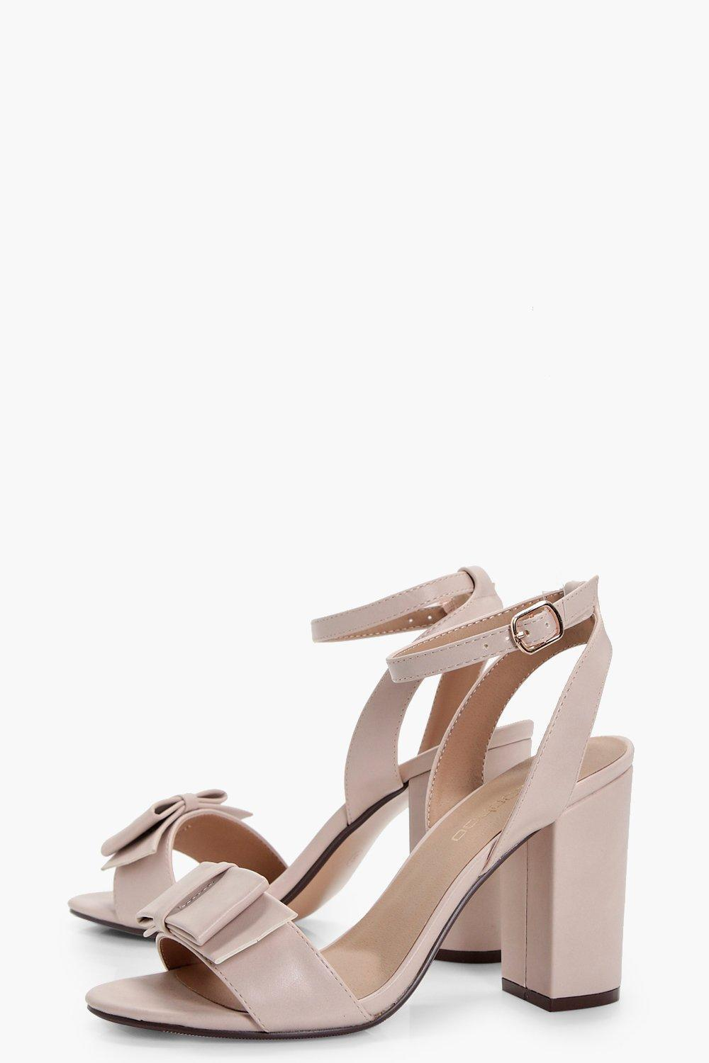 0ac2d6757b5c Lyst - Boohoo Lillie Bow Trim Block Heel in Natural