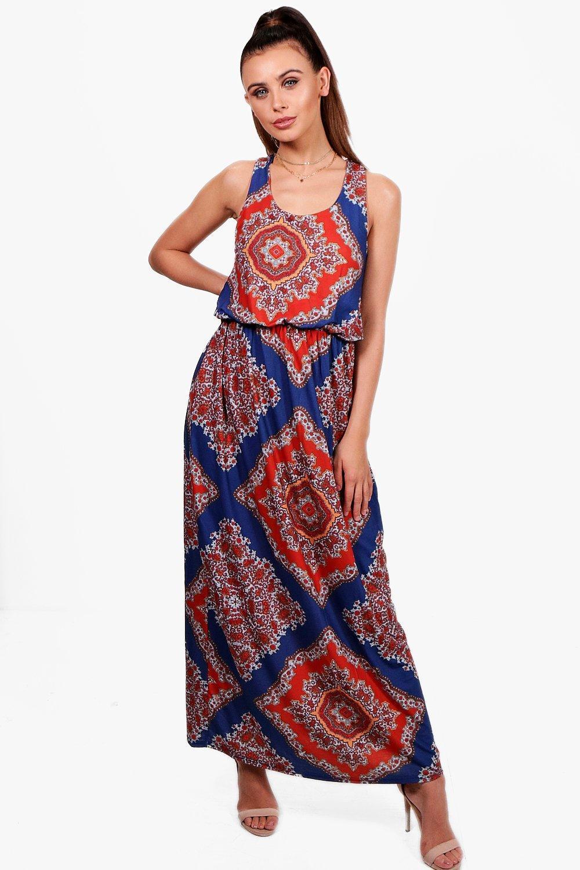 eabd247fa3d6 Boohoo. Women's Petite Paisley Print Twist Back Maxi Dress