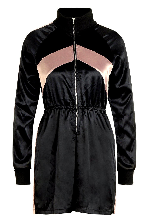 37f19fc219 Boohoo Tall Sports Style Playsuit in Black - Lyst