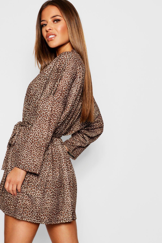 72f692049247 Boohoo - Brown Petite Leopard Print Robe - Lyst. View fullscreen