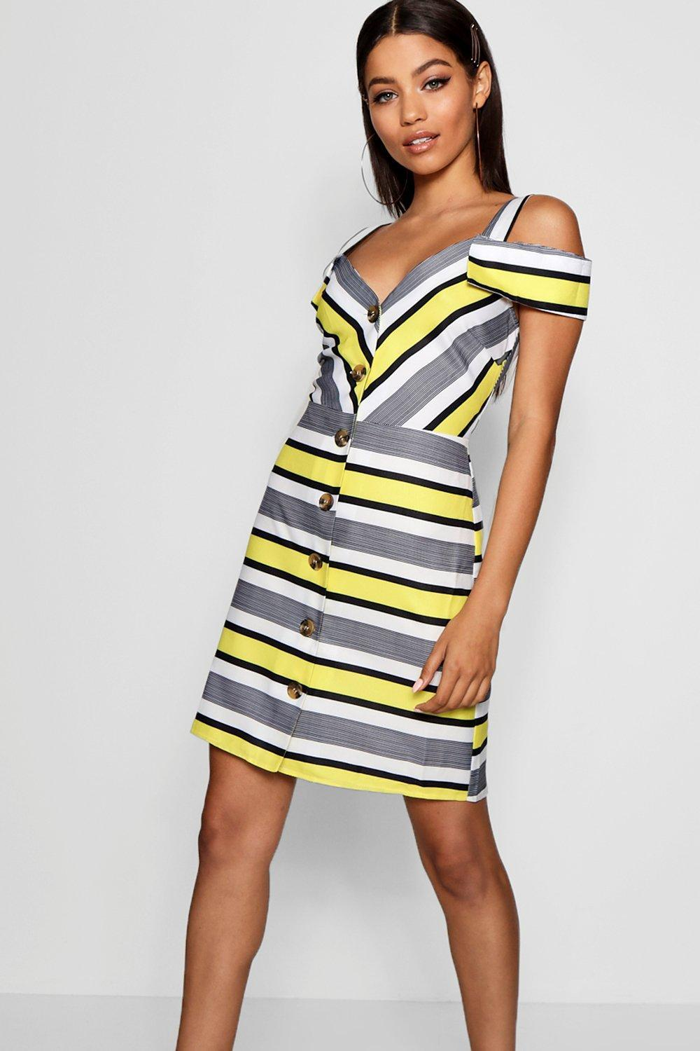 53f5ac2192bc5 Lyst - Boohoo Stripe Cold Shoulder Summer Dress in Yellow