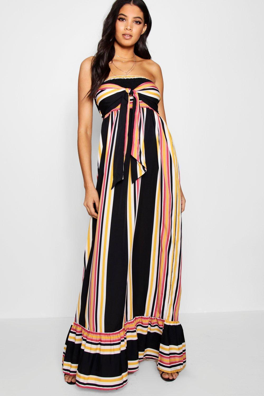 cb04fcf137c5 Boohoo. Women's Tall Knot Front Stripe Maxi Dress