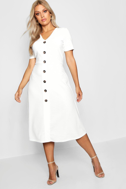 76f1dadd1ec Boohoo Plus Button Front Midi Dress in White - Lyst