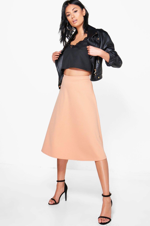 991e30a1e Boohoo Arianna Plain Full Circle Midi Skirt in Orange - Lyst