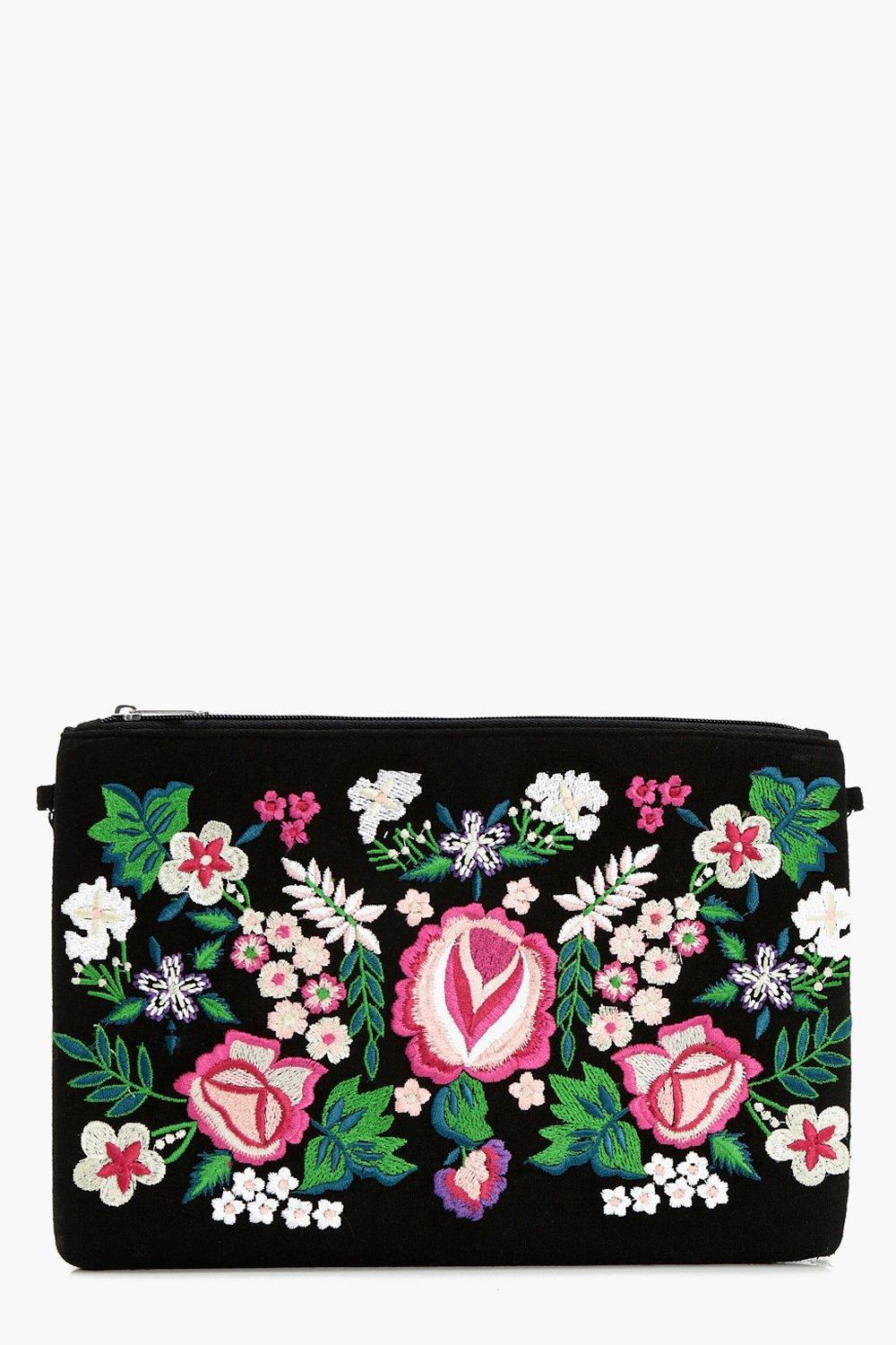 fcdeb80f077 Boohoo Ava Embroidered Clutch Bag in Black - Lyst