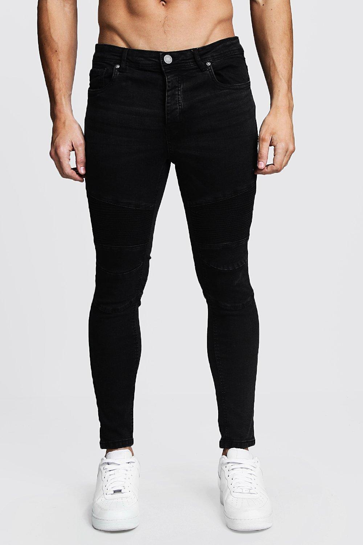 ea5a778fd93a Lyst - Boohoo Charcoal Wash Skinny Fit Biker Jeans in Black for Men