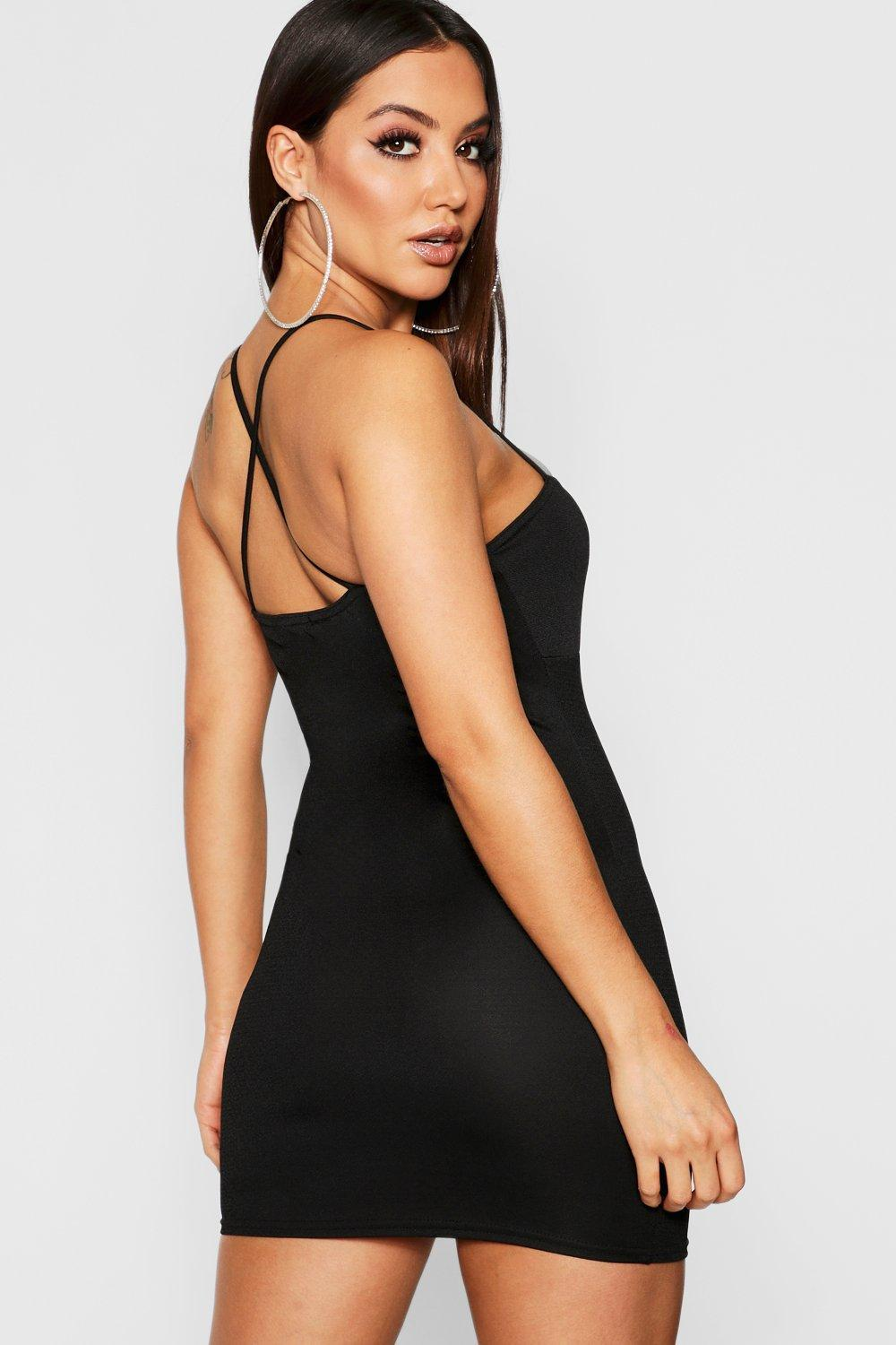 f59115ed182 Lyst - Boohoo Cross Neck Ruched Bust Bodycon Dress in Black