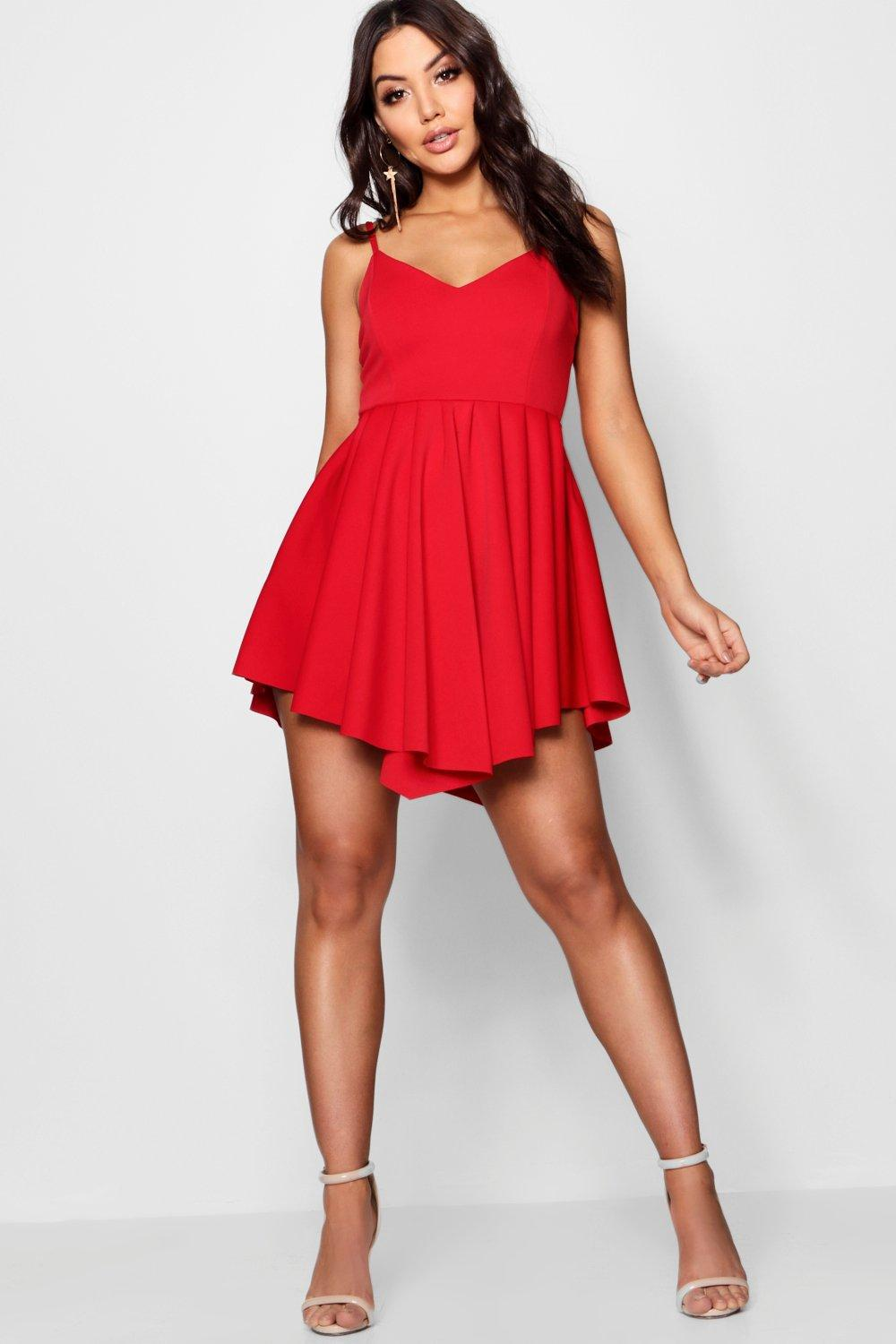 Boohoo Scuba Strappy Pleated Skater Dress in Red - Lyst 147c39288