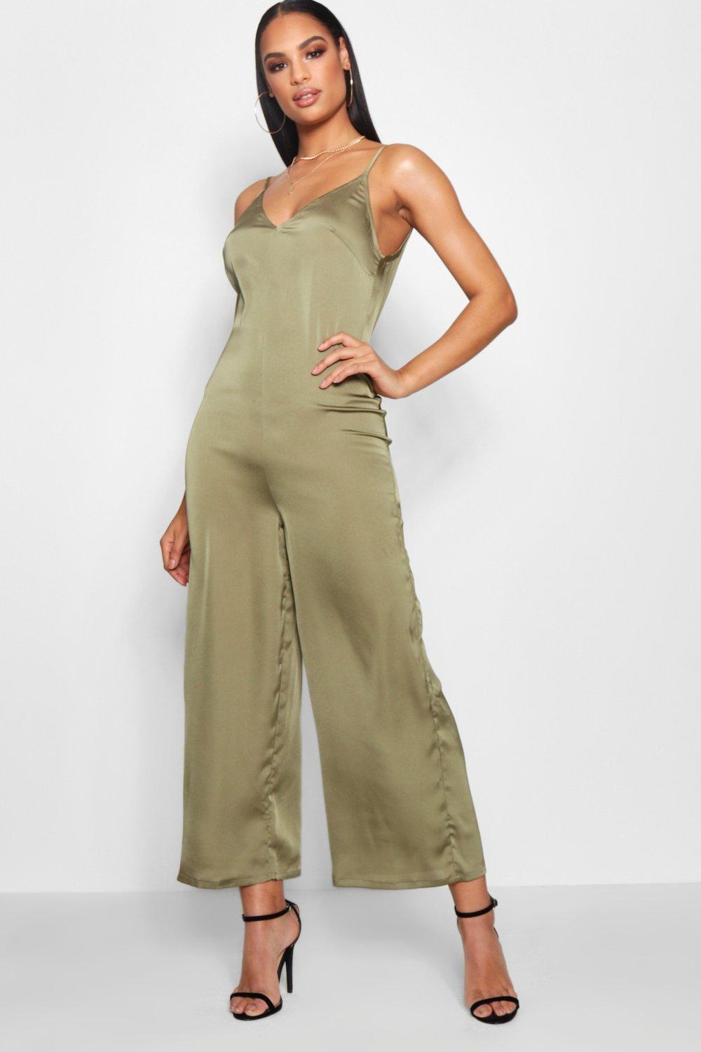d87b4c9e107 Lyst - Boohoo Strappy Cami Luxe Satin Wide Leg Jumpsuit in Green