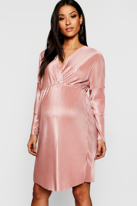 5f8edd8b89 Lyst - Boohoo Maternity Plisse Plunge Wrap Mini Dress in Pink