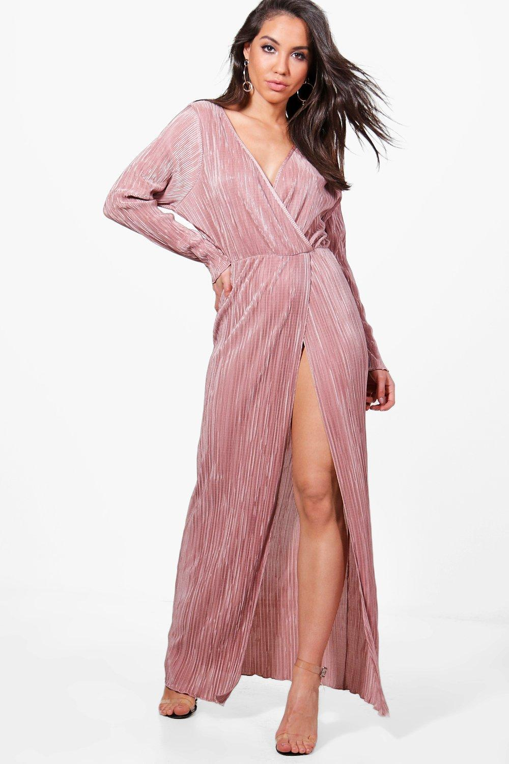 9b64f1511080 Boohoo Vicky Pleated Long Sleeve Wrap Maxi Dress in Pink - Lyst