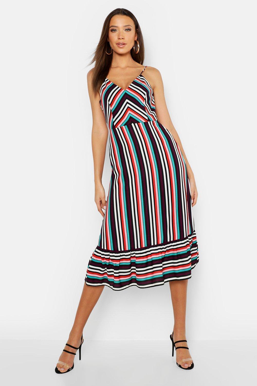 621353a950a6 Boohoo Tall Stripe Ruffle Hem Strappy Midi Dress in Blue - Lyst