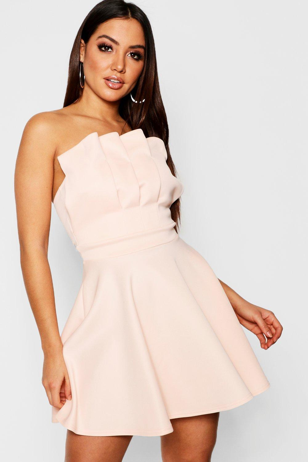 821653eadd Boohoo Bandeau Pleated Detail Skater Dress in Natural - Lyst