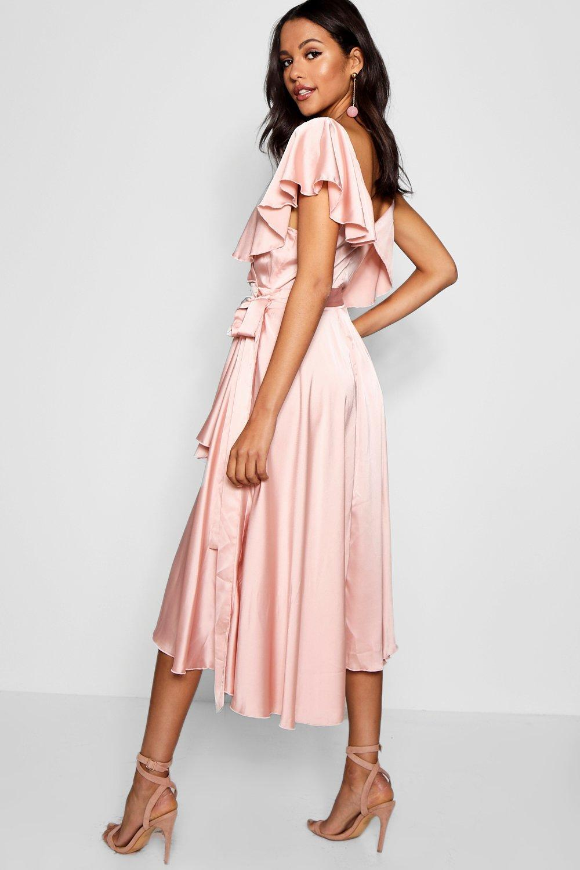 fd09bfc45fa9a Boohoo - Pink Satin Wrap Detail Skater Dress - Lyst. View fullscreen