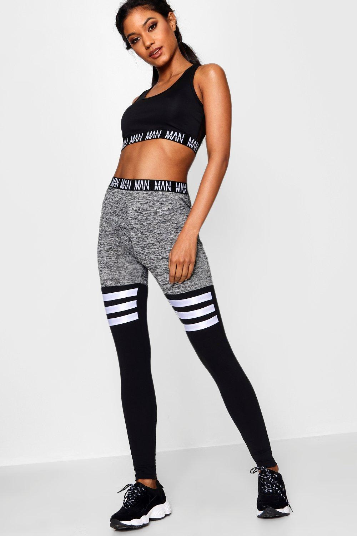 d6682b0f76bce Boohoo Fit 'man' Stripe Detail Panel Gym Legging in Gray - Lyst