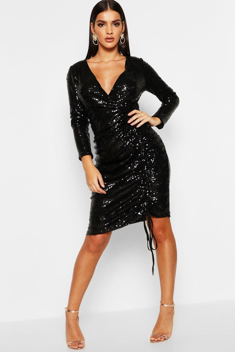 4094747039246 Boohoo Sequin Plunge Neck Ruched Midi Dress in Black - Lyst
