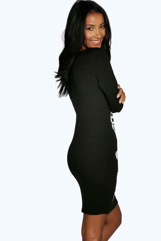 838d3cfcb97a8 Boohoo - Black Halloween Skeleton Bodycon Dress - Lyst. View fullscreen