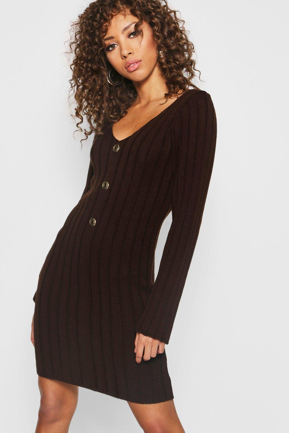 81b525e5cc78 Boohoo Long Sleeve Rib Knit Gold Button Front Dress in Brown - Lyst
