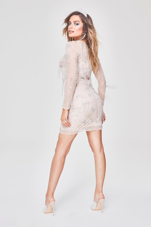 fcf5453c8ea1 Lyst - Boohoo Premium Hand Embellished Fringe Trim Mini Dress