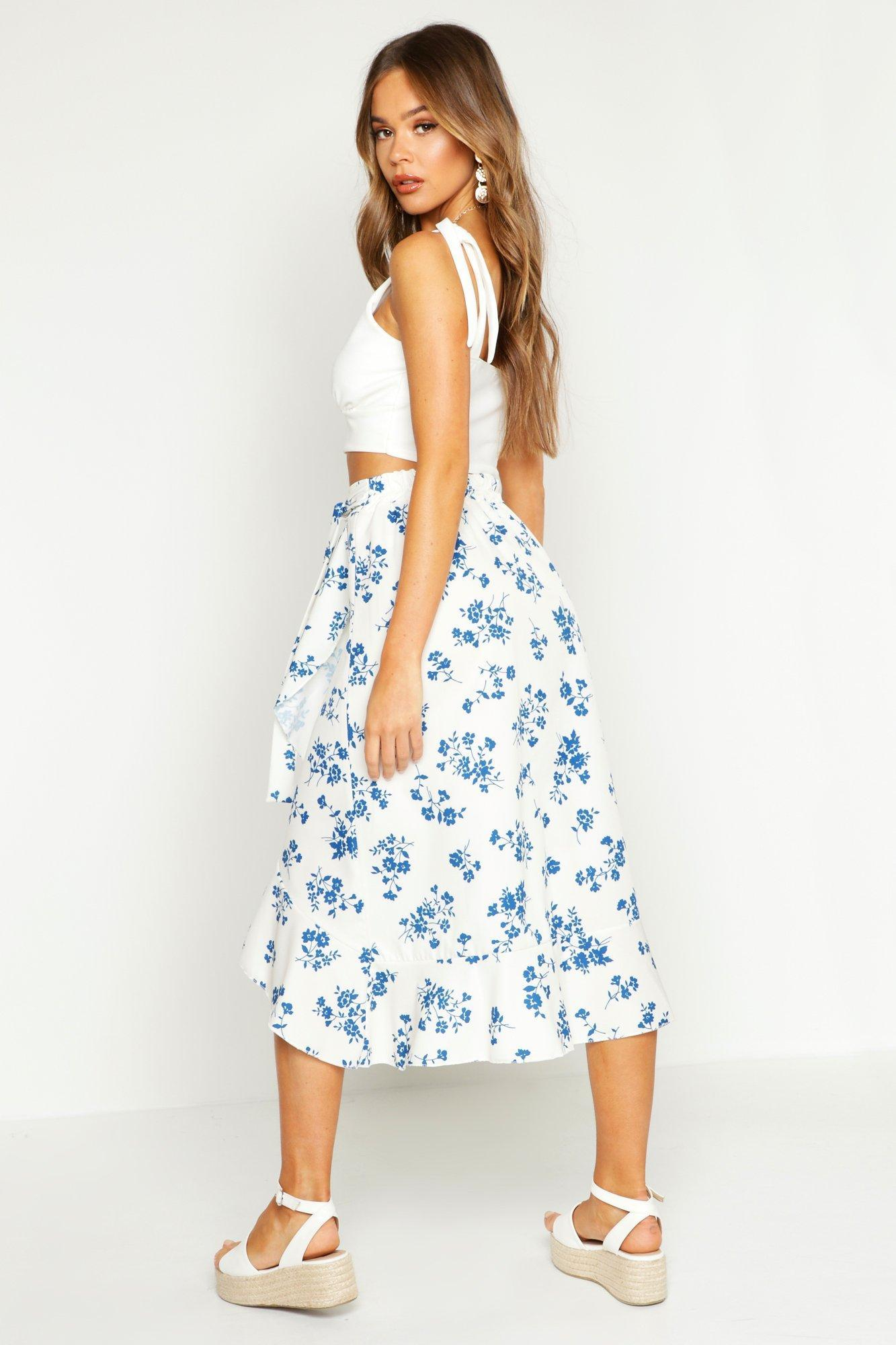 74c574ed6 Boohoo - White Floral Wrap Tie Midi Skirt - Lyst. View fullscreen