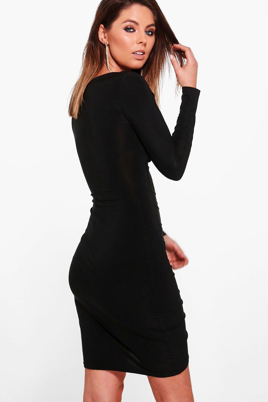 c3e884ef22dd Boohoo - Black Slinky Ruched Long Sleeve Bodycon Dress - Lyst. View  fullscreen