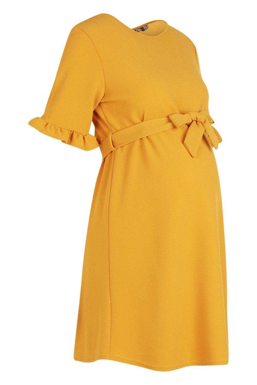 2a1ebabd870 Boohoo - Yellow Maternity Ruffle Tie Waist Smock Dress - Lyst. View  fullscreen