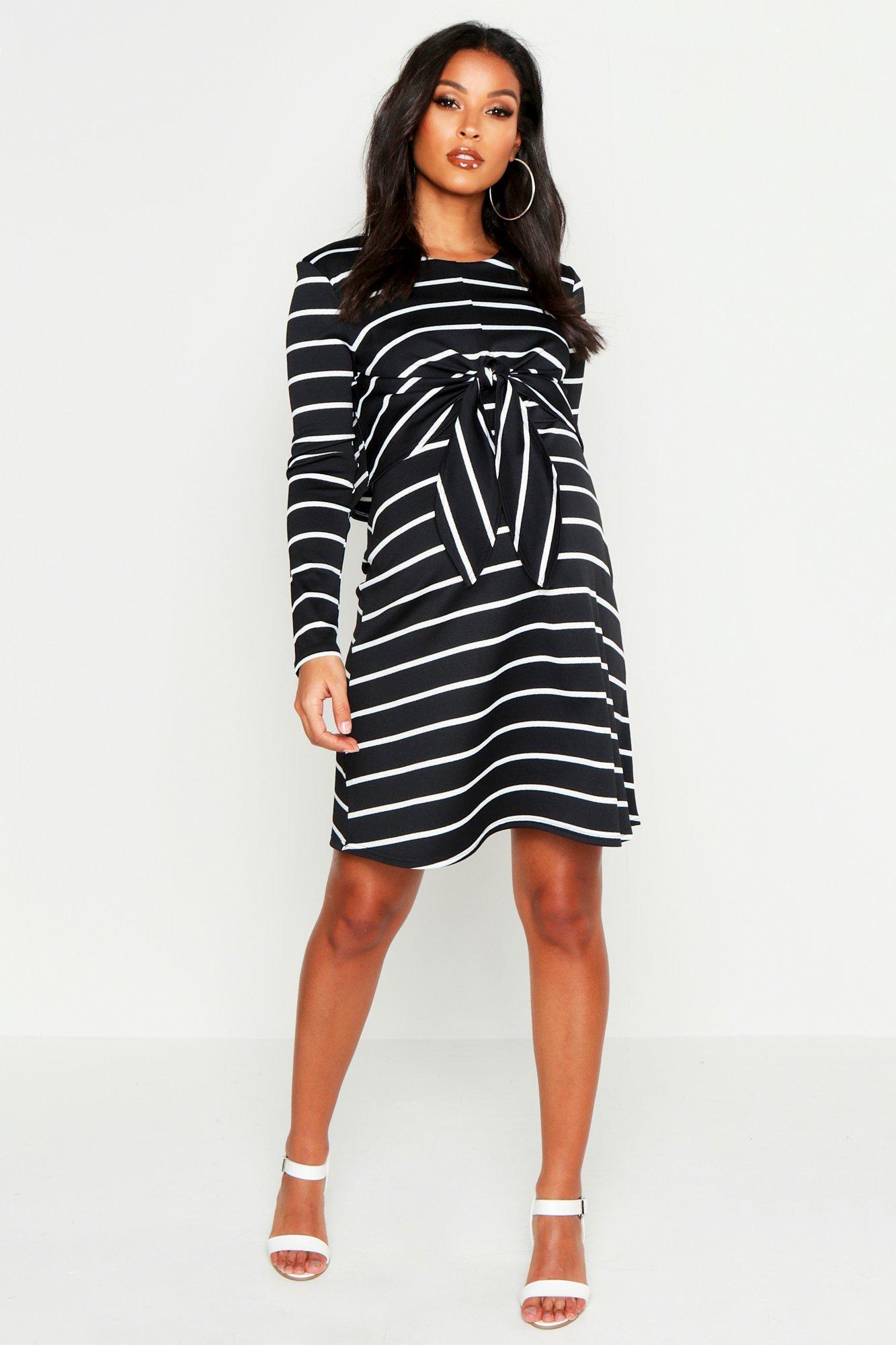 73e634526eec5 Boohoo. Women's Maternity Nursing Knot Front Stripe Dress