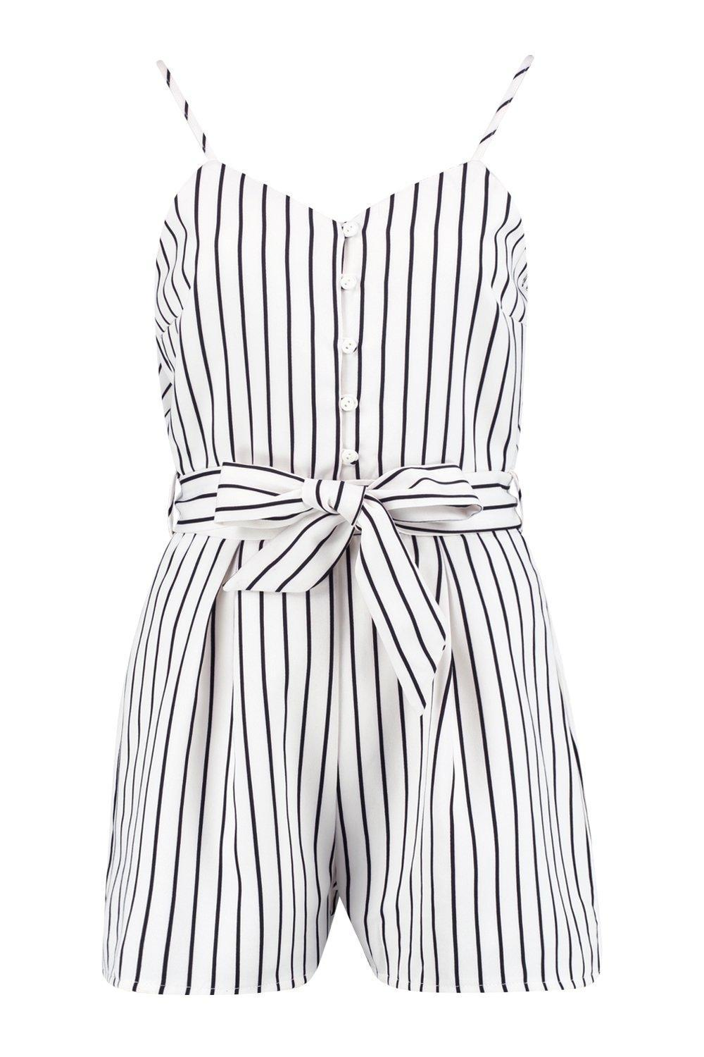 8ba16094427 Boohoo Zora Striped Cami Playsuit in White - Lyst