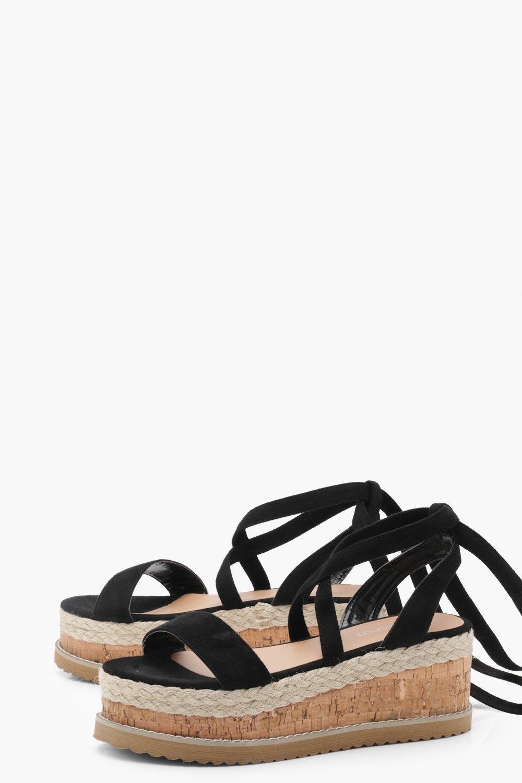 4fa7fff2ddd Boohoo - Black Flatform Espadrille Tie Up Sandals - Lyst. View fullscreen