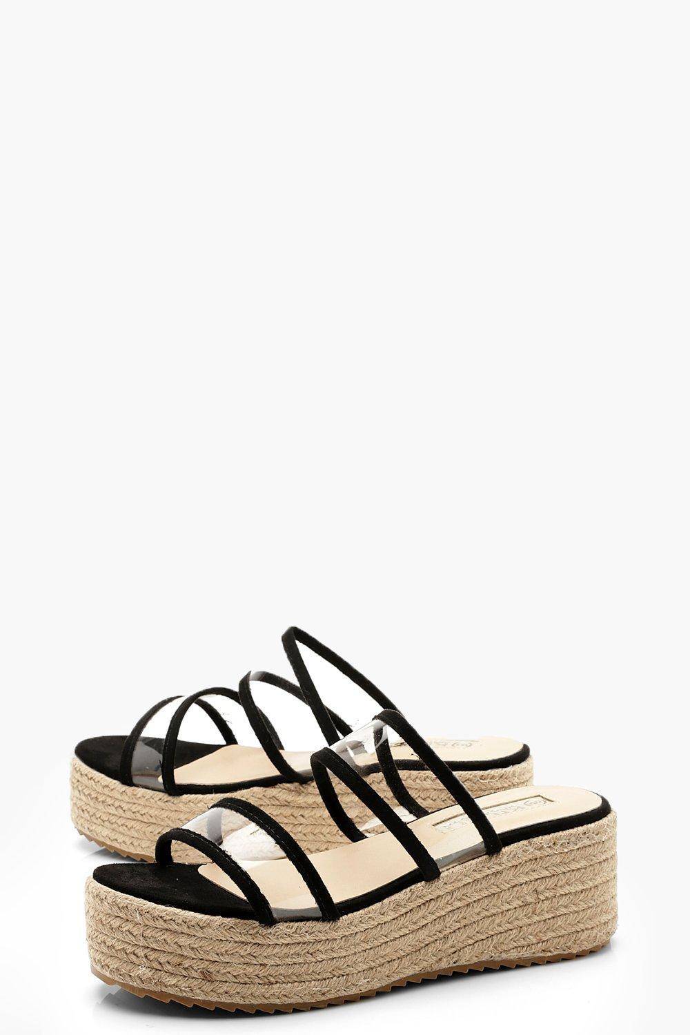 560bb5ad1ce Boohoo - Black Clear Panel Espadrille Flatforms - Lyst. View fullscreen