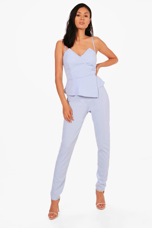 59489ea65065 Lyst - Boohoo Maya Peplum Style Skinny Leg Jumpsuit in Blue