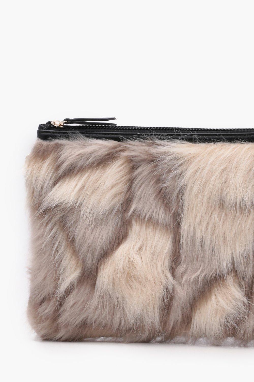 94c43e288d Boohoo Feliciity Multi Faux Fur Clutch in Natural - Lyst
