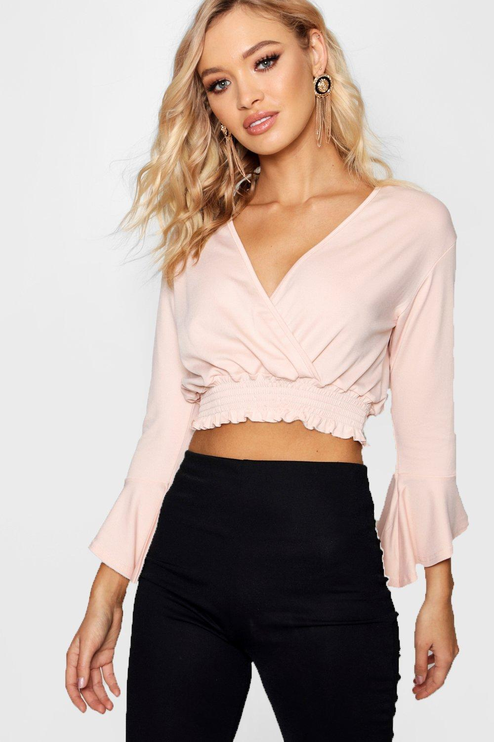 a22ddf652c51aa Boohoo Flute Sleeve Wrap Crop Top in Pink - Save 44% - Lyst