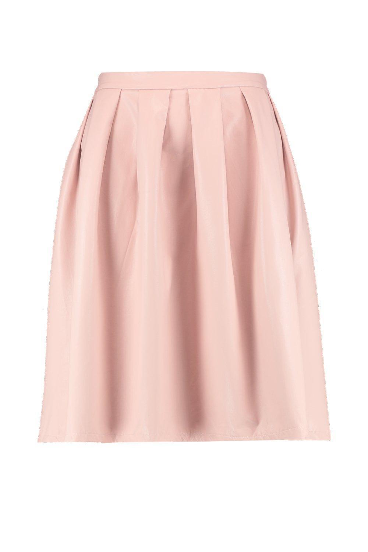 054491ed80c0d8 Boohoo Plus Leather Look Box Pleat Midi Skirt - Lyst