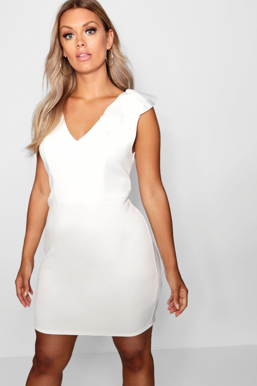 e81883635322 Boohoo - White Plus Ruffle Shoulder Plunge Shift Dress - Lyst. View  fullscreen