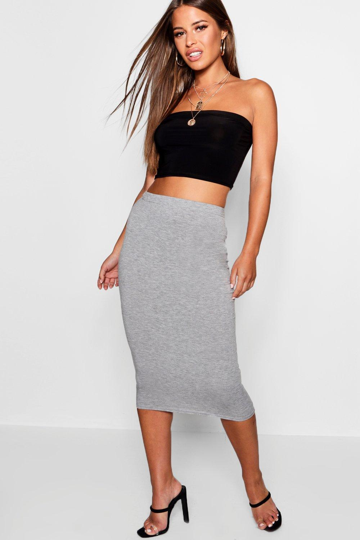 ce0f79e9b Boohoo Petite Jersey Basic Midi Skirt in Gray - Lyst