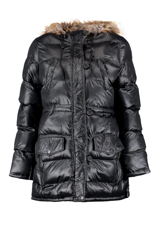2dfc0f3785d3 Boohoo Shiny Faux Fur Hood Puffer Jacket in Black - Lyst