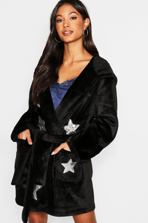 8b11c3289fb Boohoo Sequin Star Dressing Gown in Black - Lyst