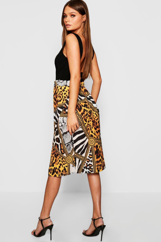 49ec1d28e674 Boohoo - Multicolor Mixed Animal Print Wrap Midi Skirt - Lyst. View  fullscreen