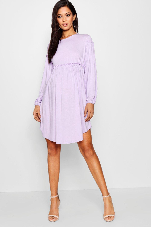 be3c9589919 Boohoo Maternity Long Sleeve Smock Dress in Purple - Lyst