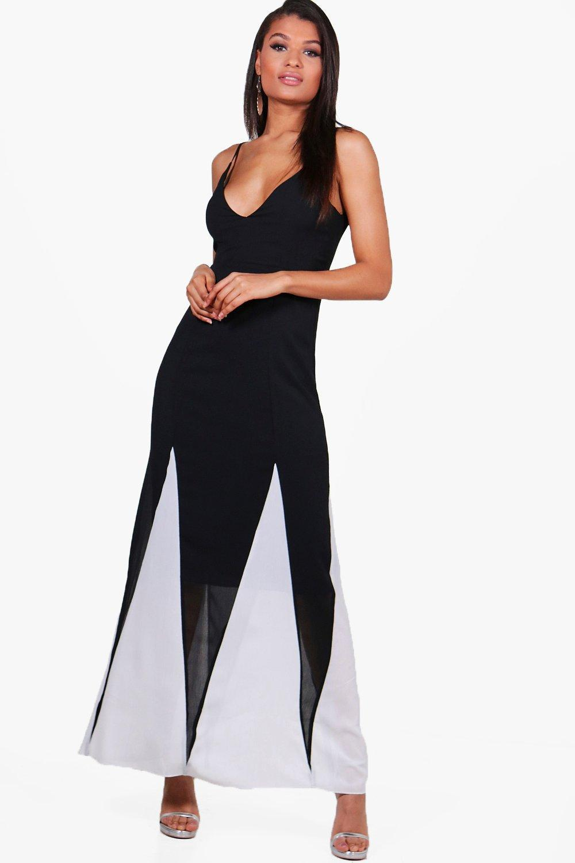 7d8ca78ecc46 Lyst - Boohoo Gaynor Colour Block Maxi Dress in Black