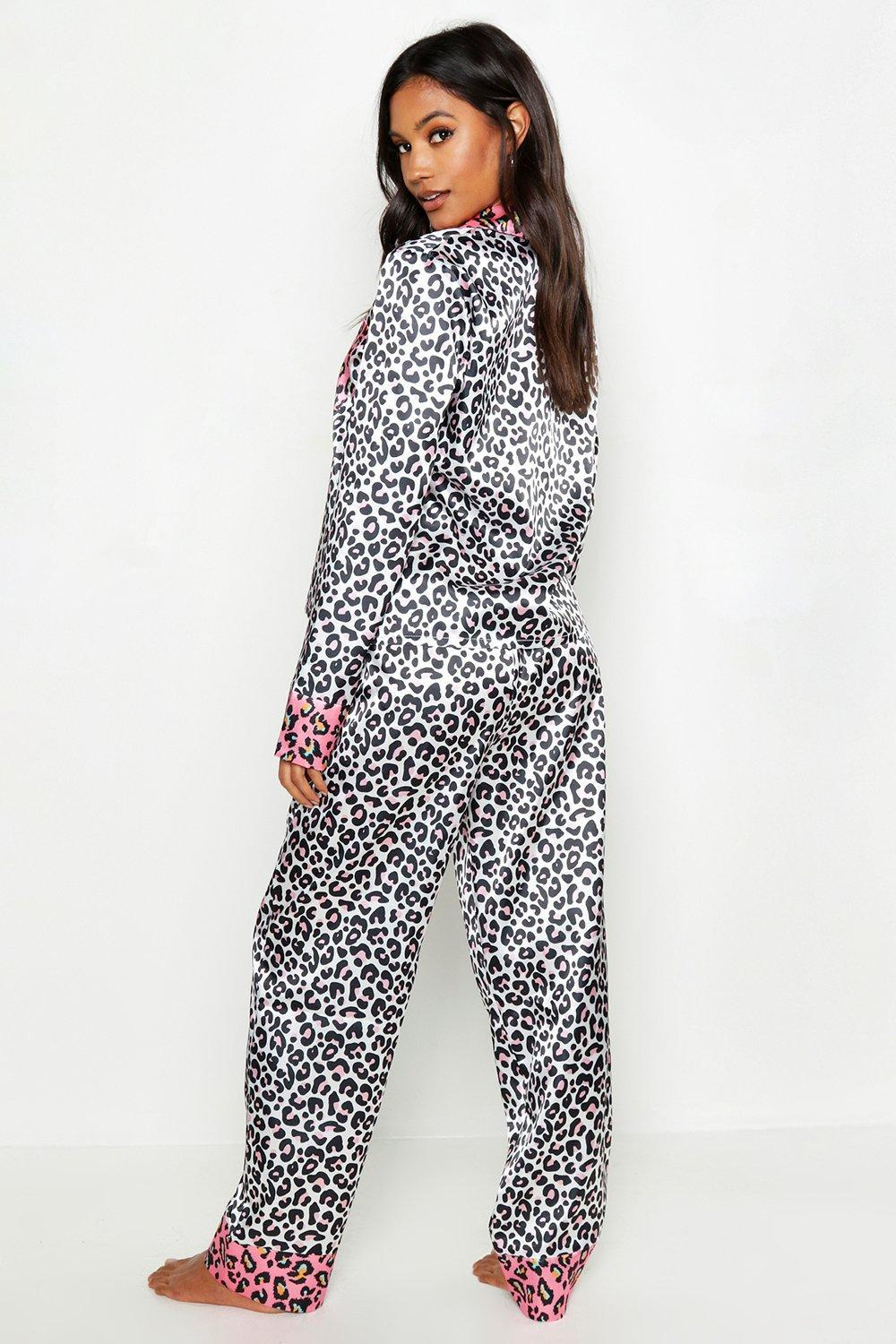 cd1abfcc42 Lyst - Boohoo Contrast Leopard Satin Pj Set in Black
