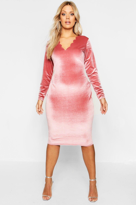 022144b14886 Boohoo Plus Velvet Scallop Edge Bodycon Dress in Pink - Lyst