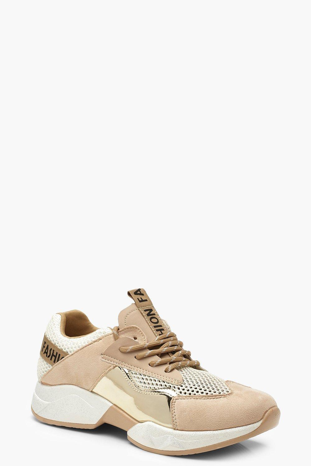 fee675f28dea Boohoo Tonal Metallic Panel Trainers in Metallic - Lyst